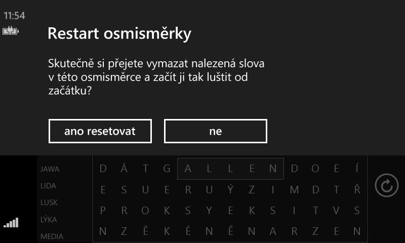 Standardní MessageDialog ve Windows Phone (horizontální)