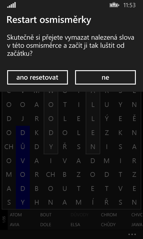 Standardní MessageDialog ve Windows Phone (vertikální)