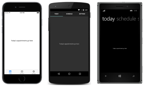 Xamarin.Forms TabbedPage - obrazovky iOS, Android a Windows
